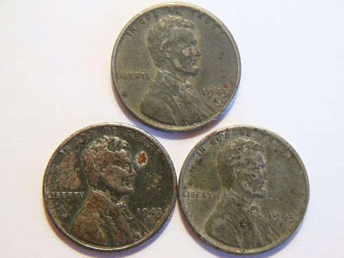 Set of 3 1943-S WWll Steel Lincoln Wheat Cents