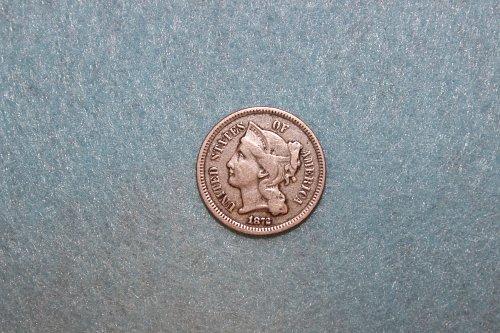 1872 P Nickel Three Cents