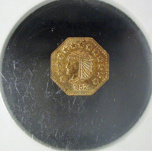 1852 One California Gold Token Indian Head Facing Left Octagon