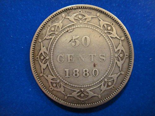 NEWFOUNDLAND 50 Cents 1880 (KEY DATE) Fine-15 Nice Sterling Silver Patina!