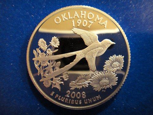 Statehood Quarter 2008-S Oklahoma SILVER Proof-66 (GEM+)