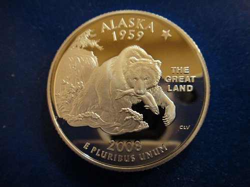 Statehood Quarter 2008-S Alaska SILVER Proof-66 (GEM+)