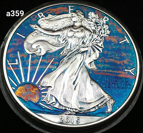 2015 Rainbow Monster Toned Silver American Eagle 1 troy ounce fine silver #a359