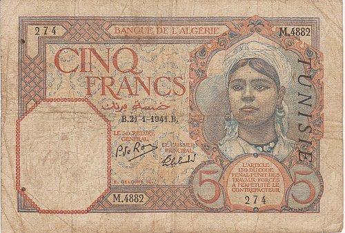 Tunisia (Algeria) 5 Francs Banknote 1941 RARE