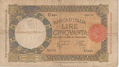Italy 50 Lire 1938 in (VG+) Condition Banknote
