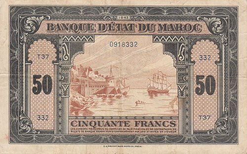 Morroco 50 Francs 1943 in (VG+) Condition Banknote
