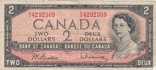 1954 Bank of Canada - $2 Two Dollar Bill Note - Circulated Currency