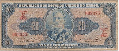 Brazil (1954-1961), 20 Cruzeiros - Circulated Currency