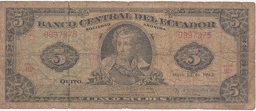 ECUADOR 5 SUCRES 1963 - Circulated Currency