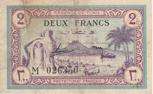 TUNISIA 2 Francs 1943 - Circulated Currency