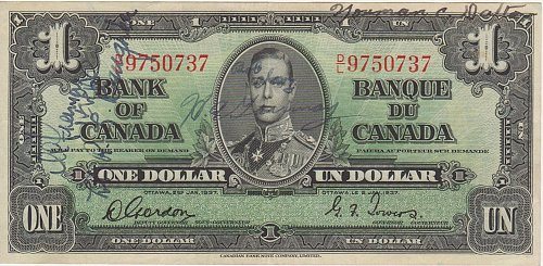 Bank of CANADA - Old 1 Dollar Note - 1937 - Gordon/Towers - Circulated Currency