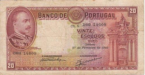 PORTUGAL 27 Feb 1940 20 Escudos Very Rare Hard To Find Paper Money Bill Note