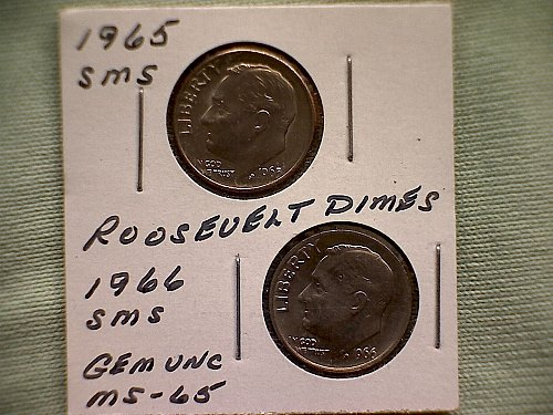 """1965 & 1966 ROOSEVELT 2-COIN  """"SMS"""" DIMES"""