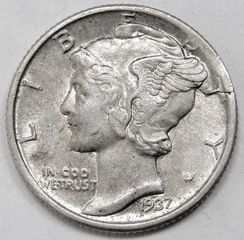 1937P Mercury Dime Planchet Defect Cracked Planchet