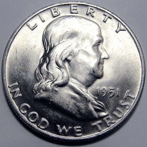 1951 D Franklin Half Dollar #2  White with excellet luster.