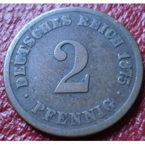 1875 A  german 2 pfenning