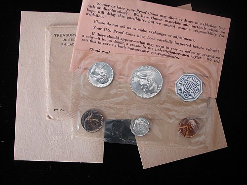 1961-P Proof Set US Mint 5 Coins in OGP with COA