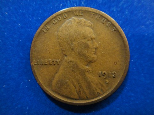 1913-S Lincoln Cent Fine-12 Nice Chocolate Brown Coin!