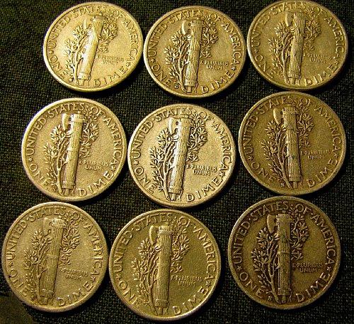 Near full bnands-Mercury Dimes 1942-S X3; 1943-S; 1943-D; 1944 X3; 1944-S $ A L