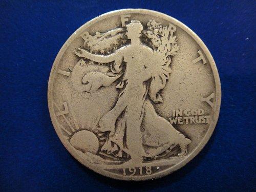 1918-S Walking Liberty Half Dollar Very Good-8 Nice Clean Surfaces!