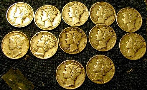 12 near Bands mercury Dimes incl. 35-S; 39-D; 40-s X2; 42-D    $1.09 each!!!