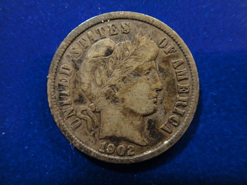 1902 Barber Dime Very Fine-25 Pretty Old Album Toning & Totally Original!