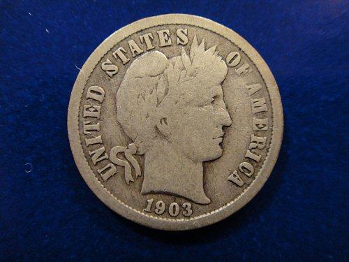 1903-O Barber Dime Very Good-8 Nice Light Pearl Gray With Minimal Marks!