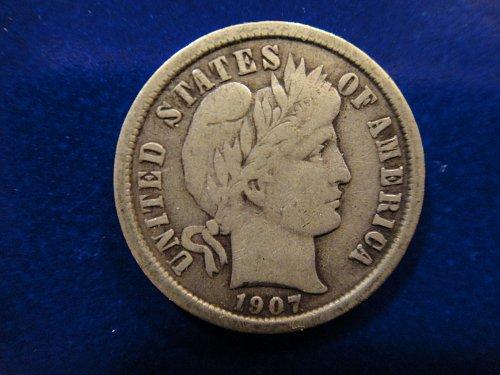 1907-O Barber Dime Fine-12 Nice Original & Underrated Date This Grade!