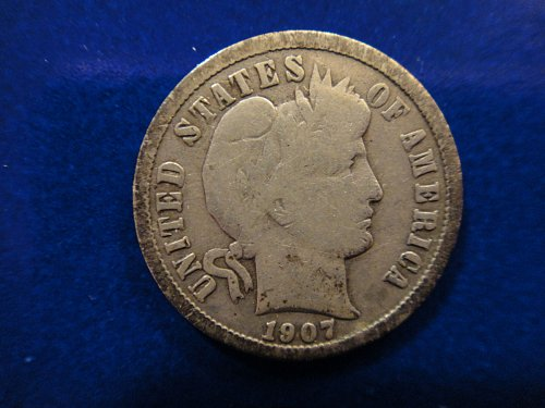 1907-S Barber Dime Very Good-8 Nice Light Pearl Grey & Minimal Marks!