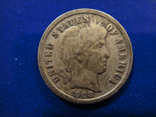 1908-S Barber Dime Fine-12 Gorgeous Darker Gun Metal Grey Obv Patina!