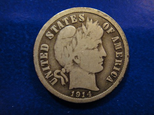 1914-S Barber Dime Very Good-10 Pretty Rev Contrast Fields Vs. Devices!
