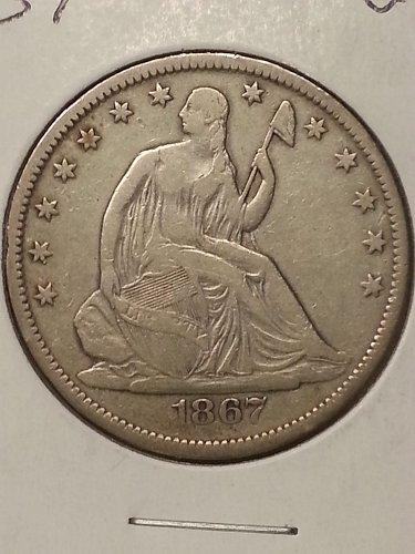 1867-S Seated Liberty Half