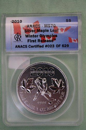 "2010 CANADA WINTER OLYMPICS FIRST RELEASE ""SILVER"" '5' DOLLAR COIN"