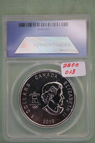 """2010 CANADA WINTER OLYMPICS FIRST RELEASE """"SILVER"""" '5' DOLLAR COIN"""