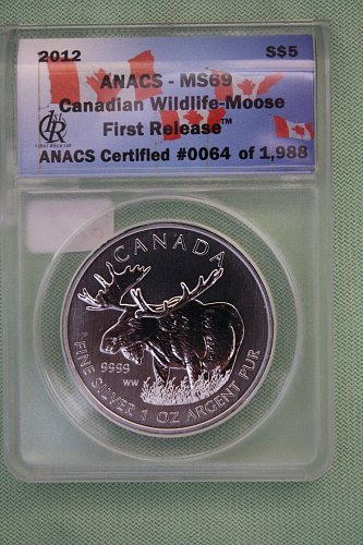 2012 CANADA  FIRST RELEASE  WILDLIFE - MOOSE 'SILVER' '5' DOLLAR COIN