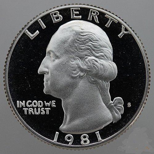 1981 S Washington Quarter (Type 1) Gem Deep Cameo CN-Clad Proof