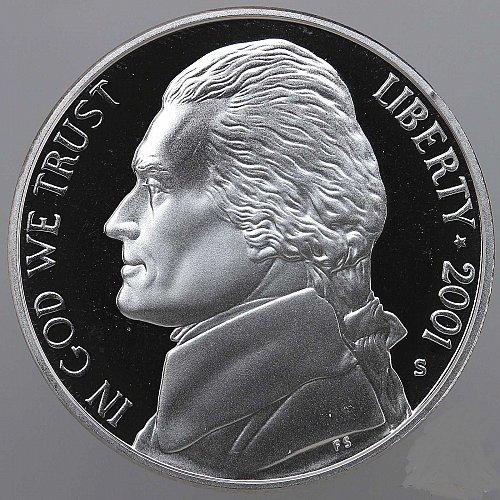 2001 S Jefferson Nickel Gem Deep Cameo Proof