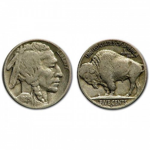 1925 D Buffalo Nickel - Fine - 1/2 Horn