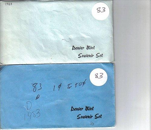 1983   P&D  SOUVENIR MINT SETS  -  10 COINS PLUS  MINT TOKENS