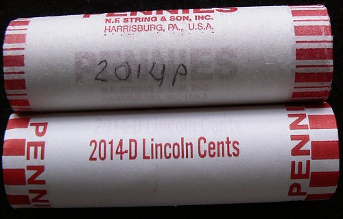 2014 P & D Lincoln Shield Cents Rolls