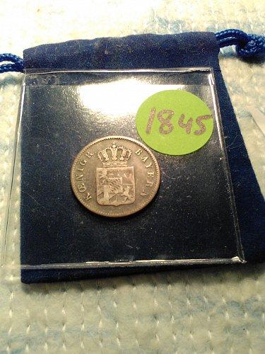 1845 SILVER GERMAN STATES 6 KREUZER