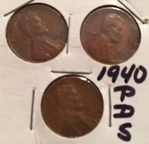 1940 Lincoln Wheat Cents - P, D, & S Mint Marks