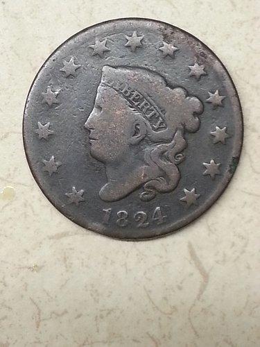 1824 Coronet Liberty Head Large Cent