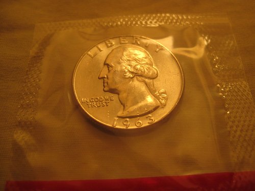 1963-D Washington Quarter Mint BU in Cello