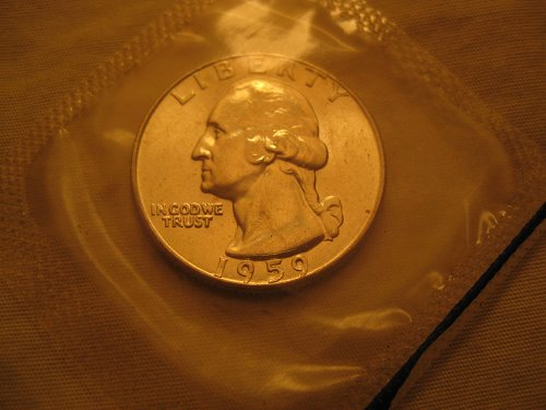 1959-P Washington Quarter Mint BU in Cello
