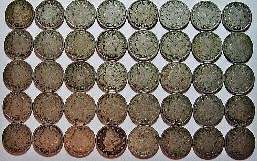 V Nickels Lot, 40 coins