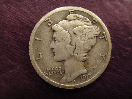 1917-S Mercury Dime Very Fine-25 Light Peripheral Olive Tone Over Pearl Grey!