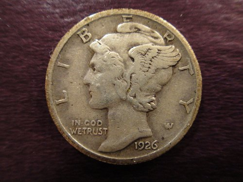 1926-D Mercury Dime Very Fine-25 Sharp Date, Mintmark & Wing Defintion!