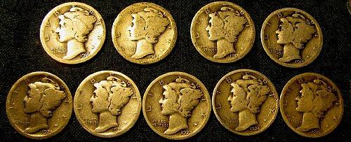 Mercury Dimes 1916,17-S, 18-D,19, 20, 20-S,23,24,26  A-81-1 Time  $ A L E
