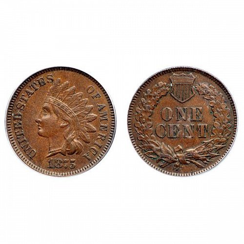 1875 Indian Head Cent - AU